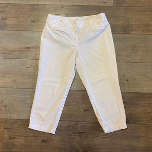 Loft White Capri Cotton Pants